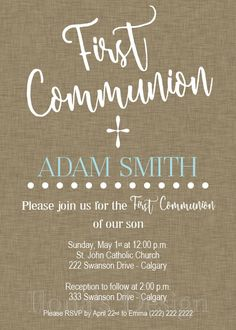 First Communion Invitation Boy - Printable Communion Invitation - Boy Communion Invite - Brown Communion Invitation by Ilona's Design on Etsy I @ilonaspassion