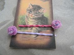Pair of Lilac Sparkle colored Rose Bobby Pins with Glitter Rain Finish | RosesHeirlooms - Jewelry on ArtFire