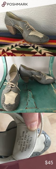 """Boutique 9 Oxford 40's Style Grey Heels All leather 40s-esque oxford heels!! These are ADORABLE!! They've only been worn a handful of times!! The leather is meant to have an """"antiqued"""" effect. One of the three times I've worn them was to a wedding & I strung deep grey ribbon in place of the laces-SO CUTE!! 40s style approximately 2"""" heel- very comfortable! Boutique 9 Shoes Heels"""