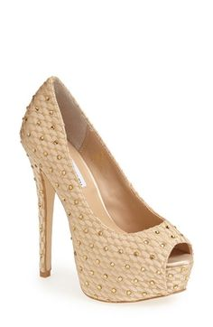 Free shipping and returns on Steve Madden 'Redcarpt' Platform Pump (Women) at Nordstrom.com. Elegant embroidery and light-catching rhinestones pattern the pristine satin upper of a flirty peep-toe pump set on a tall, wrapped heel. Stay a step ahead in Steve Madden's trend-leading styles and easy-to-wear silhouettes. Inspired by rock and roll and fused with a jolt of urban edge, Madden creates products that are innovative, sometimes wild and always spot-on-chic.