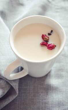 Rose Milk Tea |  2 tablespoons loose leaf rose tea 1 cup hot boiling water 1/2 cup milk of your choice  Sweetener of your choice
