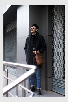 TheQuirkyMinimal by Kangkan Rabha Indian Menswear & Lifestyle blog Wering Thrifted Coat, DIY Jeans, Turtle neck sweater, ASOS Messenger bag & sunglasses, Koovs Boots