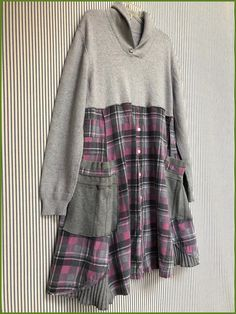 Your place to buy and sell all things handmade - - Excited to share this item from my shop: Upcycled Gray Pink Plaid Flannel Shirt Sweater Dress , Oversized Refashioned Sweater Tunic , Shabby Chic Cathy Dress Source by rdcsing Sewing Clothes Women, Diy Clothing, Clothes For Women, Redo Clothes, Clothes Refashion, Shirt Refashion, Upcycle Shirts, Refashioned Clothes, Pullover Shirt