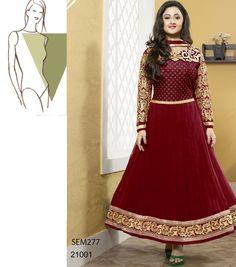 Buy New Designer Georgette Maroon Neck Designer Anarkali Suit