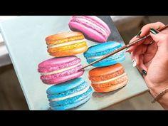 The Colorful Macaron Cake - Acrylic painting / Homemade Illustration (4k) - YouTube