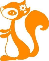 Frau Hörnchen, orange, Velours-Motiv zum Aufbügeln