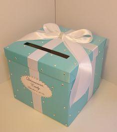 wedding card box blue and white gift card box money box holder