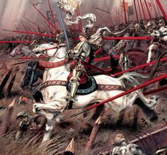 Joan of Arc leading the charge of the French knights, Hundred Years War Joan D Arc, Saint Joan Of Arc, St Joan, Medieval Knight, Medieval Armor, Medieval Fantasy, Dark Fantasy, Military Art, Military History