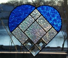 Sale 25 off Stained glass heart blue stained glass by SGHovel