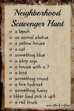 Our Scavenger Hunts - Mom Without a Village - Neighborhood Scavenger Hunt – A way to have a little extra fun on your afternoon walks! Summer Activities, Toddler Activities, Learning Activities, Preschool Activities, Party Activities, Leadership Activities, Outdoor Activities For Adults, Scavenger Hunt For Kids, Photo Scavenger Hunt
