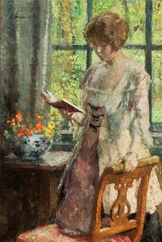 Young Woman Reading, 1916, by Gari Melchers (American, 1860-1932)