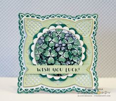 Power Poppy Wish You Luck digital stamp set, card design by Katie Sims. Wish You Luck, Poppy Cards, Blue Hydrangea, Copic Markers, Digital Stamps, Go Green, St Patricks Day, Letting Go, Poppies