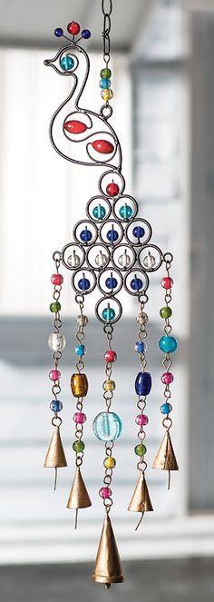 Peacock windchime with mixed beads