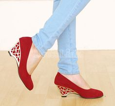 $10.00 New Women's Mid Heel Platform Wedges Pumps Shoes 4Colors