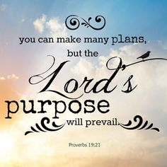 Proverbs 19:21 Many are the plans in the mind of a man, but it is the purpose of the LORD that will stand.