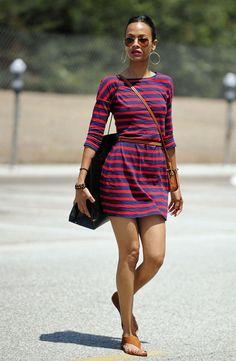 i like this shirt dress worn by Zoe Saldana