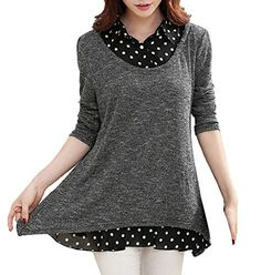 7d0dfec0f14d Simple-Fashion Printemps et Automne Femmes Hauts Fashion Lâche Pois  Épissure Tees Blouse Pullover Tunique