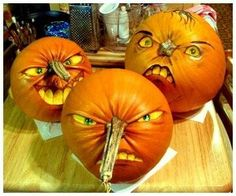 Use pumpkin stems for your Jack-O-Lanterns nose. Paint eyes, hair and mouth.