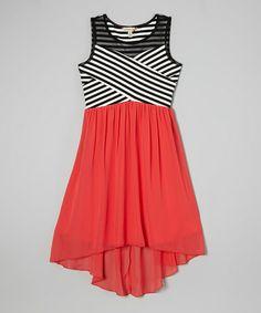Black Stripe & Coral Chiffon Hi-Low Dress - Girls on #zulily! #zulilyfinds