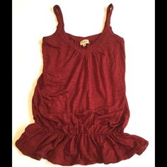 Ella Moss VNeck Top, Size XS Great vneck ella moss top to wear on its own or layer under a blazer or sweater.  Beautiful Crimson/maroon/burgundy shade, v neck, with elastic ruffle waist.  Purchased at Nordstrom.  Size XS, easily fits Small as well. Ella Moss Tops Tank Tops