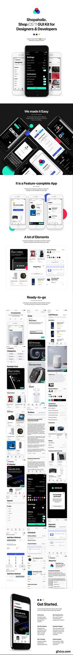Shopaholic iOS 11 - A thorough iOS 11 ecommerce UI Kit for Sketch, Photoshop & XD