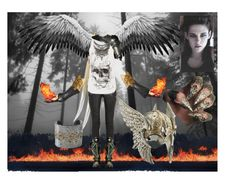"""""""fallen guardian angel 2"""" by rosesmith-1 ❤ liked on Polyvore featuring Annie Fensterstock, Balmain, Alexander McQueen and Jagger"""