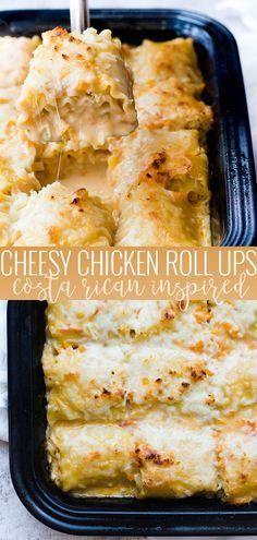Chicken Roll-Ups | easy chicken dinner recipes | chicken lasagna roll-ups | Costa Rican recipe ideas | pasta roll-ups | quick dinner recipes || Oh So Delicioso #easydinner #costaricancuisine #chickenrecipe #chicken #pasta #recipe #dinner #ohsodelicioso Easy Chicken Dinner Recipes, Easy Meals, Recipe Chicken, Yummy Dinner Recipes, Recipe Pasta, Chicken Ideas, Quick Kid Dinners, Yummy Easy Dinners, Good Easy Dinner Recipes