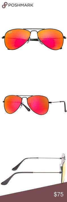 NEW Ray-Ban Kids Aviators, Matte Black/Red Mirror These kids version of the iconic Ray-Ban aviator comes in lots of fun and bright colors. Only problem is you may never get your kids to take them off. Fits ages 8-12 years.  Features: * Thin metal frame and temples with plastic tips * 100% UV protection * Prescription-ready * Includes neoprene protective pouch * Imported  Specs: * Lens width: 50 mm * Model: RJ9506S 201/6Q * Frame: Matte Black * Lens: Red Mirror  Product Guarantee: These…