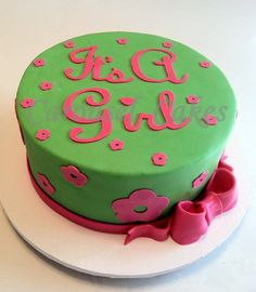 Lime green and pink cake for baby shower