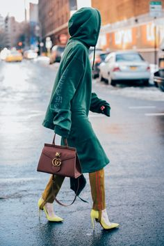 Mix sportswear with high heels and a fabulous coat for a unique edgy but still done up look