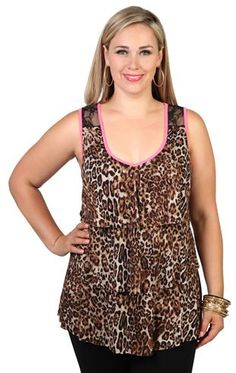 plus size cheetah print ruffle tank with neon piping and lace back