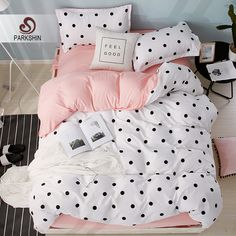 This trendy bedding set is business on the outside, party within! Open up the duvet cover to reveal a fun pink shade inside. Pink Bedding Set, Cute Bedding, Cheap Bedding Sets, Linen Bedding, Bed Linens, Polka Dot Bedding, Bed Comforter Sets, Queen Bedding Sets, Modern Comforter Sets