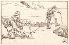 Berg Illustration, Mountain Illustration, Mountain Pictures, German Army, Climbers, Bergen, Inktober, Random Stuff, Rocks