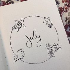 Wooohooo all my exams are finally over! Now Ive plenty of time to work in my bullet journal! Today I made my July cover page and I think it is really cute i choose for a summer/sea theme . Wooohooo all my exams are Bullet Journal Spreads, Bullet Journal September, Bullet Journal Headers, Bullet Journal Cover Page, Bullet Journal 2019, Bullet Journal Notes, Bullet Journal Layout, Bullet Journal Inspiration, Journal Pages