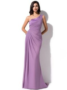 Sheath/Column One-Shoulder Sweep Train Chiffon Tulle Charmeuse Evening Dress With Ruffle Beading Sequins