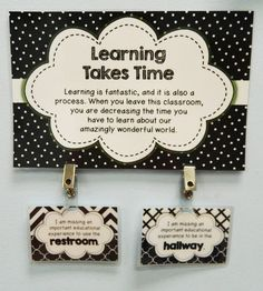 The Bathroom Clip - a clean alternative to the germy handheld bathroom pass!  I LOVE this, especially for the upper grades!