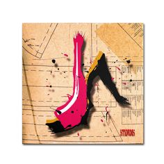 Suede Heel Pink by Roderick Stevens Painting Print on Wrapped Canvas