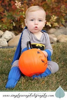 One Year Old Boy Photo Ideas - Outdoor Photo Shoot in the Fall with Halloween Costume
