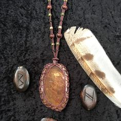 Handcrafted petrified wood beaded macrame necklace. One of a kind.