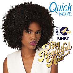 OUTRE SYNTHETIC HALF WIG QUICK WEAVE BIG BEAUTIFUL HAIR 4A - KINKY (FUTURA)