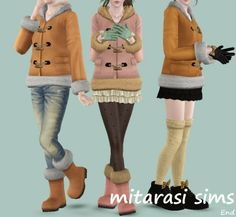 My Sims 3 Duffle Coats and Boots by Mitarasi
