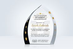 This leadership award is beautifully cut and features striking design elements. The perfect way to honor leadership achievement with personal flair! Corporate Awards, Design Elements, Leadership, Elements Of Design