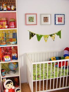 30 Ways to Add Color to Your Kid's Room Without Painting the Walls: love the papered bookcases!