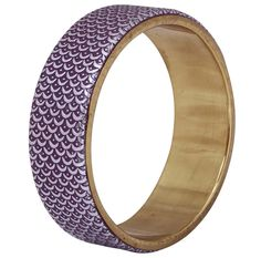 Bulk Wholesale Handmade Metal Bangle with Purple Color on the Outer Side & Golden Finish on the Inner Side – Decorated with Half-Moon Patterns – Fashion Accessories / Stylish Jewelry from India