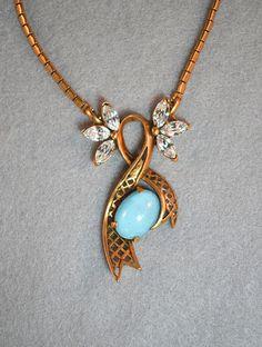 Blue Glass Moonstone and Rhinestone Latice Work Choker