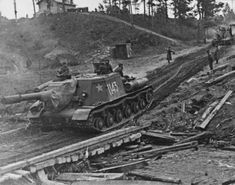 Soviet 152-mm self-propelled artillery ISU-152 near the village of Bogushevsk, near Vitebsk.