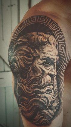 Start of my Greek mythology sleeve. - DIY - Zelda - tips Sparta Tattoo, Zeus Tattoo, Poseidon Tattoo, Dark Tattoo, Best Sleeve Tattoos, Tattoo Sleeve Designs, Tattoo Designs Men, Small Forearm Tattoos, Bicep Tattoo
