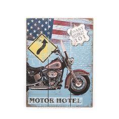 Placa Decorativa em Madeira - Moto Custom - Machine Cult | A loja das camisetas de carro e moto