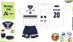 Norway away kit for the 1998 World Cup Finals.