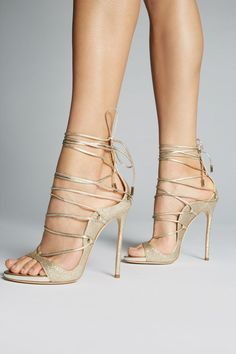"Dsquared2 ""Riri"" light-gold-glitter-leather open-toe lace-up ankle-wrap/tie very-high-spike-heeled sandals"
